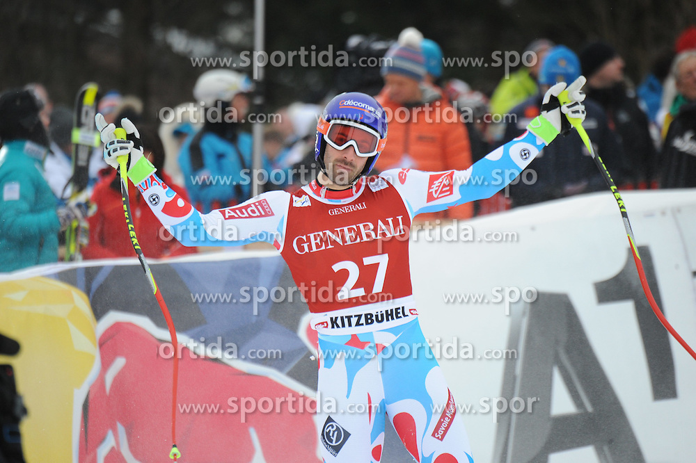 23.01.2015, Streif, Kitzbuehel, AUT, FIS Ski Weltcup, Supercombi Super G, Herren, im Bild Adrien Theaux (FRA) // Adrien Theaux of France reacts after his run of the men's Super Combined Super-G of Kitzbuehel FIS Ski Alpine World Cup at the Streif Course in Kitzbuehel, Austria on 2015/01/23. EXPA Pictures © 2015, PhotoCredit: EXPA/ Erich Spiess