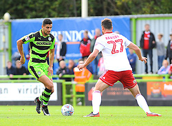 Omar Bugiel of Forest Green Rovers tries to get past Farrend Rawson of Accrington Stanley - Mandatory by-line: Nizaam Jones/JMP- 30/09/2017 - FOOTBALL - New Lawn Stadium - Nailsworth, England - Forest Green Rovers v Accrington Stanley - Sky Bet League Two