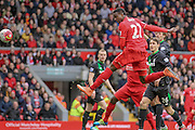 Divock Origi (Liverpool) scores to make it 3-1 during the Barclays Premier League match between Liverpool and Stoke City at Anfield, Liverpool, England on 10 April 2016. Photo by Mark P Doherty.