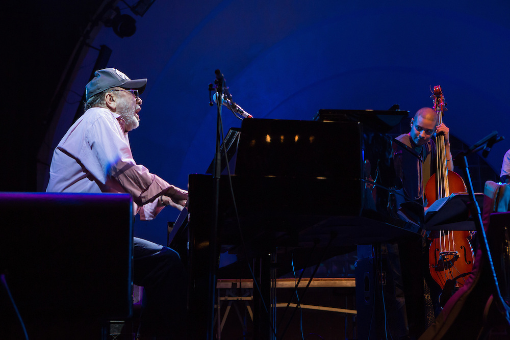 Eddie Palmieri at the piano. Palmieri has won several Grammy awards, for jazz, salsa, and Latin music.
