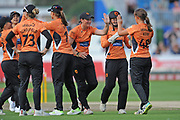 Southern Vipers celebrate the wicket of Sarah Taylor during the Women's Cricket Super League match between Southern Vipers and Surrey Stars at the 1st Central County Ground, Hove, United Kingdom on 14 August 2018.