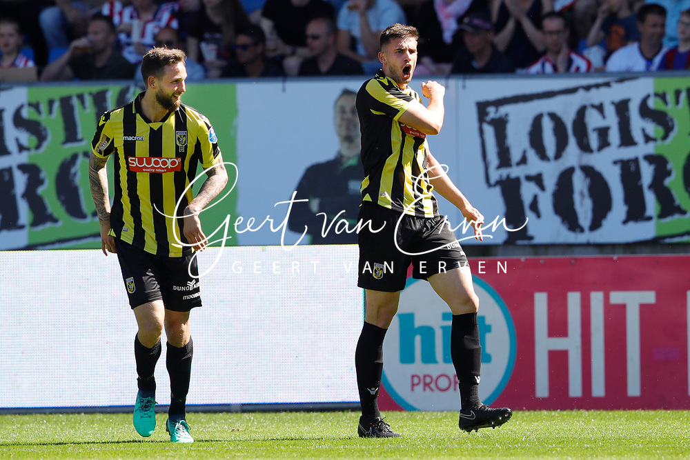 *Matt Miazga* of Vitesse celebrates 1-1 with *Tim Matavz* of Vitesse