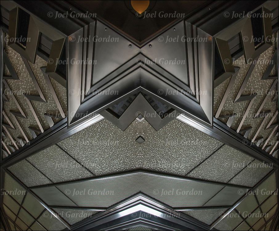Two images flipped.<br /> <br /> Zig-Zag details of the Chrysler Building in New York City built in 1930.  <br /> <br /> It was also one of the first buildings composed of stainless steel over a large exposed surface.
