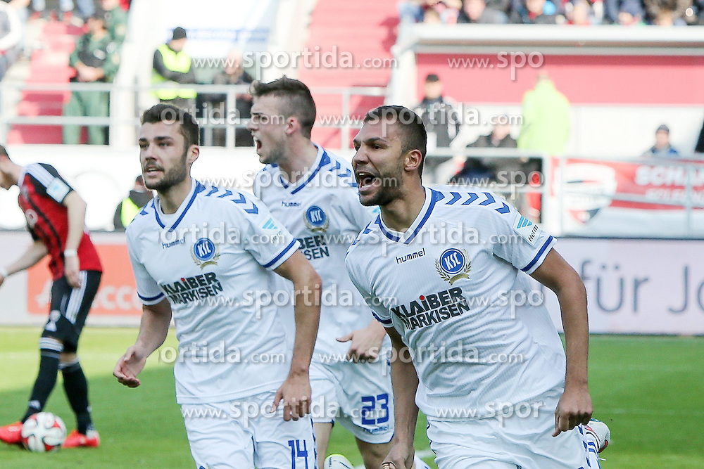 15.03.2015, Audi Sportpark, Ingolstadt, GER, 2. FBL, FC Ingolstadt 04 vs Karlsruher SC, 25. Runde, im Bild Jubel nach seinem Treffer zum 1:0 Daniel Gordon (Nr.3, Karlsruher SC) // during the 2nd German Bundesliga 25th round match between FC Ingolstadt 04 and Karlsruher SC at the Audi Sportpark in Ingolstadt, Germany on 2015/03/15. EXPA Pictures &copy; 2015, PhotoCredit: EXPA/ Eibner-Pressefoto/ Strisch<br /> <br /> *****ATTENTION - OUT of GER*****