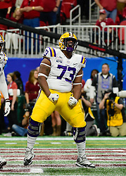 LSU Tigers offensive lineman Adrian Magee (73) reacts  during the first half against Oklahoma Sooners after his teams scored in the 2019 College Football Playoff Semifinal at the Chick-fil-A Peach Bowl on Saturday, Dec. 28, in Atlanta. (Paul Abell via Abell Images for the Chick-fil-A Peach Bowl)