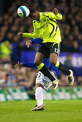 LIVERPOOL, ENGLAND - Thursday, April 17, 2008: Chelsea's John Mikel Obi wins a header during the Premiership match against Everton at Goodison Park. (Photo by David Rawcliffe/Propaganda)