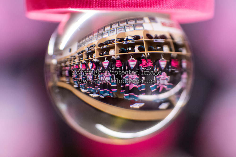 KELOWNA, CANADA - NOVEMBER 3: The dressing room of the Kelowna Rockets is seen through a photography orb on Pink the Rink night against the Brandon Wheat Kings on November 3, 2018 at Prospera Place in Kelowna, British Columbia, Canada.  (Photo by Marissa Baecker/Shoot the Breeze)