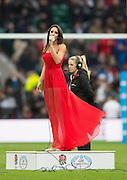 Twickenham, Great Britain, National Anthem, sung by Laura WRIGHT. QBE Autumn Internationals, England vs New Zealand, RFU Stadium Twickenham, Surrey.  Saturday   08/11/2014 [Mandatory Credit; Peter SPURRIER/Intersport Images]