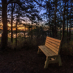 A bench in the pine barren next to Great South Pond in Plymouth, Massachusetts. The Wildlands Trust's Cortelli Preserve. Dawn.