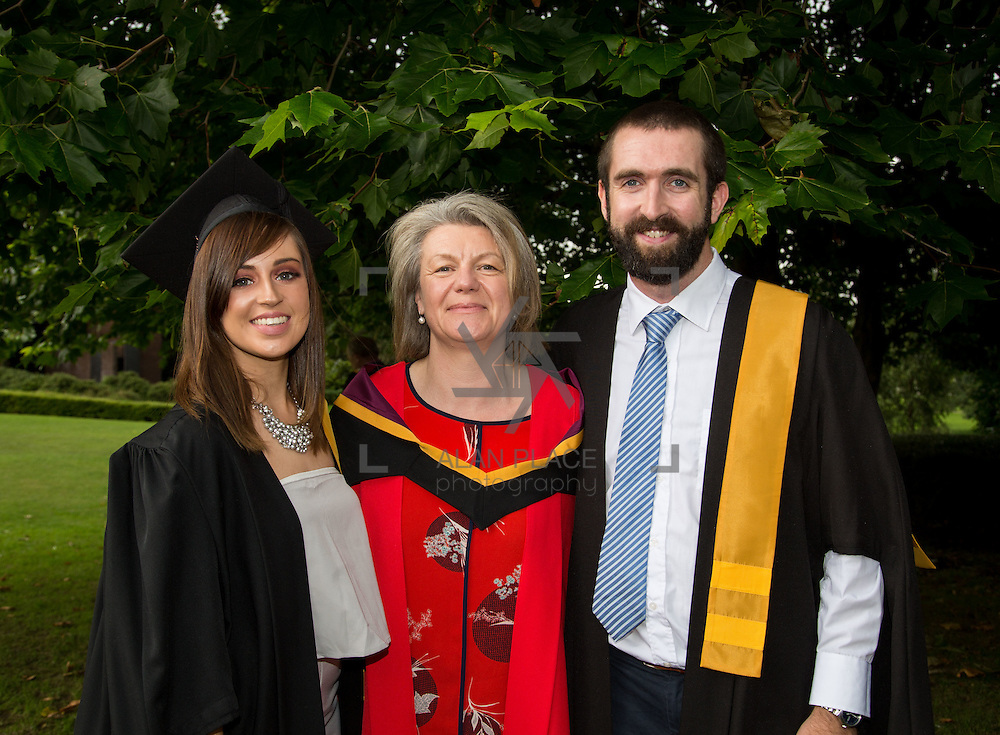 25.08.2016          <br />  Faculty of Business, Kemmy Business School graduations at the University of Limerick today. <br /> <br /> Attending the conferring wer Graduate Certificate in Posture, Seating and Wheelchair Mobility across the Life Course   graduates, Anne Lynam, Kilcock Co. Kildare, and John Lynch, Walkinstown County Dublin with Dr. Rosie Gowran, Dept. Clinical Therapies. Picture: Alan Place.<br /> <br /> <br /> As the University of Limerick commences four days of conferring ceremonies which will see 2568 students graduate, including 50 PhD graduates, UL President, Professor Don Barry highlighted the continued demand for UL graduates by employers; &ldquo;Traditionally UL's Graduate Employment figures trend well above the national average. Despite the challenging environment, UL's graduate employment rate for 2015 primary degree-holders is now 14% higher than the HEA&rsquo;s most recently-available national average figure which is 58% for 2014&rdquo;. The survey of UL&rsquo;s 2015 graduates showed that 92% are either employed or pursuing further study.&rdquo; Picture: Alan Place