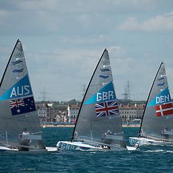 2012 Olympic Games London / Weymouth<br /> <br /> Finn practice race<br /> Finn DENHoegh-Christensen Jonas<br /> Finn AUSCasey Brendan<br /> Finn GBRAinslie Ben