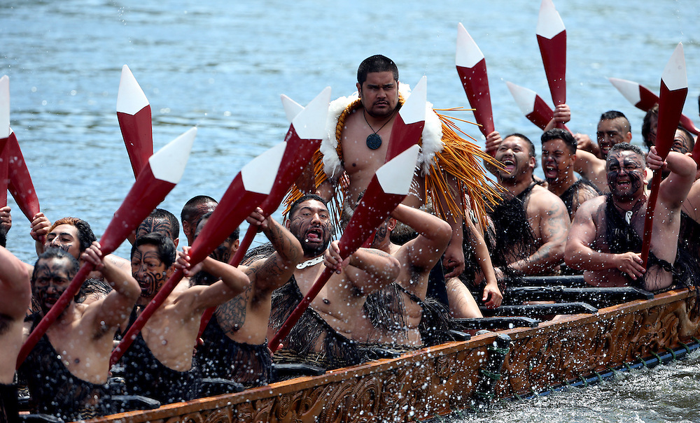 Five waka, maori canoes on the Waikato River salute Prince Charles, Prince of Wales and Camilla, Duchess of Cornwall at Turangawaewae Marae, Hamilton, New Zealand, Sunday, November 08, 2015. Credit:SNPA / David Rowland **POOL**