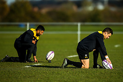Jimmy Gopperth and Lima Sopoaga of Wasps during training ahead of the European Challenge Cup fixture against SU Agen - Mandatory by-line: Robbie Stephenson/JMP - 18/11/2019 - RUGBY - Broadstreet Rugby Football Club - Coventry , Warwickshire - Wasps Training Session