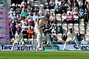 Alastair Cook of England gets off the mark during the first day of the 4th SpecSavers International Test Match 2018 match between England and India at the Ageas Bowl, Southampton, United Kingdom on 30 August 2018.