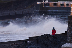 Aberystwyth Wales UK , New Years Eve, Sunday 31 December 2017<br /> <br /> <br /> UK Weather: On the last day of 2017, New Years Eve, December 31st , Storm Dylan sweeps over Aberystwyth , on the west coast of Wales, bringing cold gale force 7 wind,  gusting to 32 mph,  and driving bands of icy rain and hail<br /> <br /> photo &copy; Keith Morris