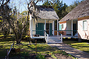 Cabin houses at Vermilionville living history museum of Acadian (Cajun), Creole and Native American cultures, Louisiana, USA