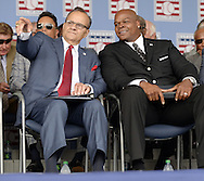 COOPERSTOWN, NY - JULY 27:  2014 Baseball Hall of Famer inductees Joe Torre and  Frank Thomas look on prior to the 2014 induction ceremonies held at the Clark Sports Center in Cooperstown, New York on July 27 2014.