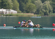 Aiguebelette, FRANCE.  Men's lightweight double sculls, FRA LM2X winning and celebrating, Stany DELAYRE  and Jeremie AZOU   2014 FISA World Cup II, 11:39:31  Sunday  22/06/2014. [Mandatory Credit; Peter Spurrier/Intersport-images]