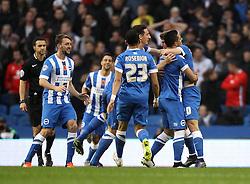Solly March of Brighton & Hove Albion celebrates scoring the opening goal with his teammates - Mandatory byline: Robbie Stephenson/JMP - 07966 386802 - 07/11/2015 - FOOTBALL - Falmer Stadium - Brighton, England - Brighton v MK Dons - Sky Bet Championship