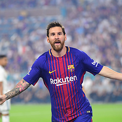 Lionel Messi of Barcelona celebrates putting his side 1-0 ahead during the International Champions Cup match between Barcelona and Real Madrid at Hard Rock Stadium on July 29, 2017 in Miami Gardens, Florida. (Photo by Dave Winter/Icon Sport)