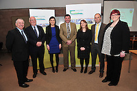 Prof Gerry Boyle, Teagasc Director , Shane McEntee TD, Minister of State at the Department of Agriculture Food and the Marine,  Michael Diskin  Teagasc,  Aine Keating, Jonathon Forbes, Aine Mulvihill Kepak and Una Ryan Kepak at the Launch of Sheep 2012. Photo:Andrew Downes