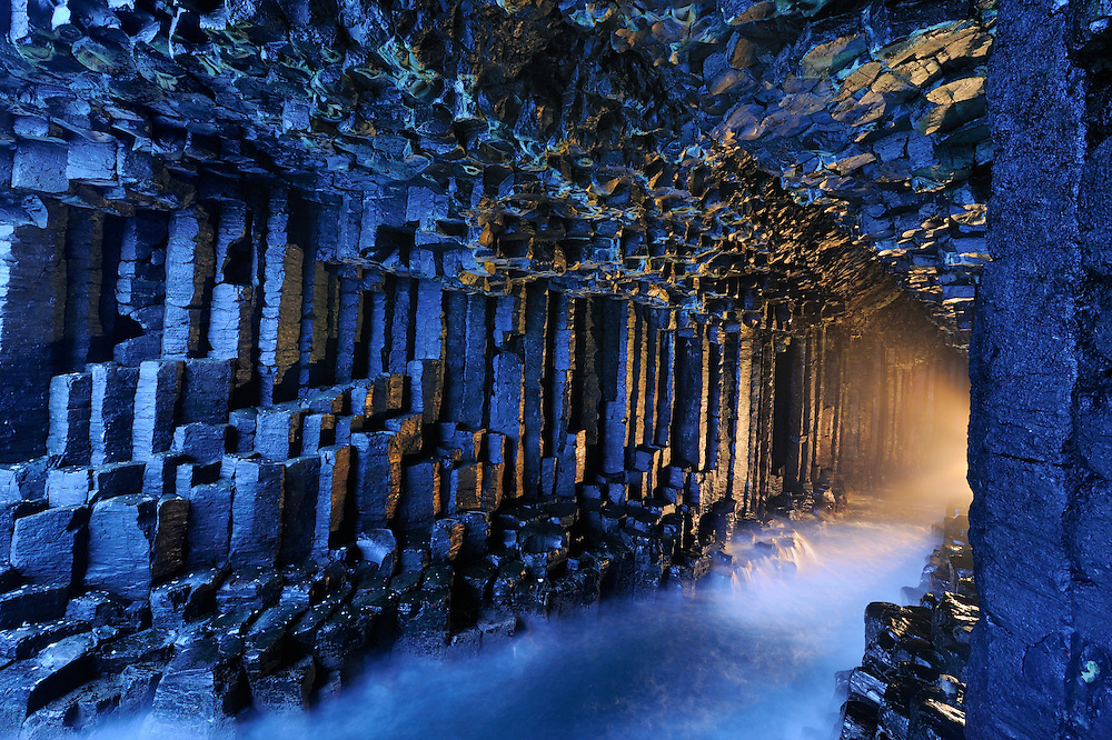 Fingal's Cave on Staffa, the island of volcanic basalt columns on the west coast of the Isle of Mull.