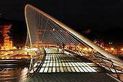 Zubizuri or White footbridge in Bilbao by Santiago Calatrava