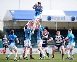 Leinster 'A's win a line out - Photo mandatory by-line: Dougie Allward/JMP - Tel: Mobile: 07966 386802 07/04/2013 - SPORT - RUGBY - Memorial Stadium - Bristol. Bristol v Leinster A - B&I Cup.