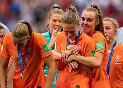 07-07-2019 FRA: Final USA - Netherlands, Lyon<br /> FIFA Women's World Cup France final match between United States of America and Netherlands at Parc Olympique Lyonnais. USA won 2-0 / Anouk Dekker #6 of the Netherlands, Vivianne Miedema #9 of the Netherlands, Jill Roord #19 of the Netherlands, Jackie Groenen #14 of the Netherlands