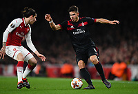 Football - 2017 / 2018 UEFA Europa League - Round of Sixteen, Second Leg: Arsenal (2) vs. AC Milan (0)<br /> <br /> AC Milan's André Silva battles with Arsenal's Hector Bellerin<br /> <br /> COLORSPORT/ASHLEY WESTERN