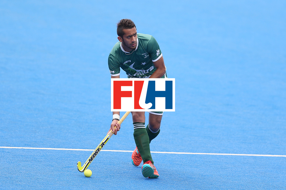 LONDON, ENGLAND - JUNE 24: Ammad Shakeel of Pakistan in action during the 5th-8th place match between Pakistan and India on day eight of the Hero Hockey World League Semi-Final at Lee Valley Hockey and Tennis Centre on June 24, 2017 in London, England. (Photo by Steve Bardens/Getty Images)