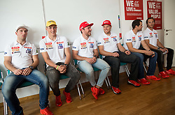 Martin Cater, Stefan Hadalin, Miha Hrobat, Andrej Sporn, Bostjan Kline and Rok Perko during press conference of Slovenian Men Alpine Ski Team before new season 2016/17, on September 27, 2016 in Generali, Ljubljana, Slovenia. Photo by Vid Ponikvar / Sportida