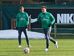 13.02.2015, Trainingsgelände am Weserstadion, Bremen, GER, 1. FBL, SV Werder Bremen, Taining, im Bild Philipp Bargfrede (SV Werder Bremen #44) geht zum Ball, Felix Kroos (SV Werder Bremen #18) dahinter // during the training session on the training ground of the German Bundesliga Club SV Werder Bremen at the Trainingsgelände am Weserstadion in Bremen, Germany on 2015/02/13. EXPA Pictures © 2015, PhotoCredit: EXPA/ Andreas Gumz<br /> <br /> *****ATTENTION - OUT of GER*****
