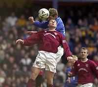 Rangers v Hearts, Scottish Premier. Ibrox Park.<br /><br />Pic Ian Stewart, 3/03/01.<br /><br />Flo scores first goal