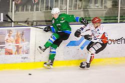 Players during Hockey match between SZ HD Olimpija and HDD Jesenice in 4tht match of Quarterfinals of Alps Hockey League, on March 13, 2018 in Hala Tivoli, Ljubljana, Slovenia. Photo by Ziga Zupan / Sportida
