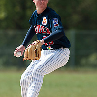 25 April 2010: Anthony Piquet of Rouen pitches against the PUC during game 1/week 3 of the French Elite season won 12-4 by Rouen over the PUC, at the Pershing Stadium in Vincennes, near Paris, France.
