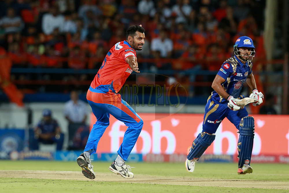 Ankit Soni of GL appeals for a  LBW during match 35 of the Vivo 2017 Indian Premier League between the Gujarat Lions and the Mumbai Indians  held at the Saurashtra Cricket Association Stadium in Rajkot, India on the 29th April 2017<br /> <br /> Photo by Rahul Gulati - Sportzpics - IPL
