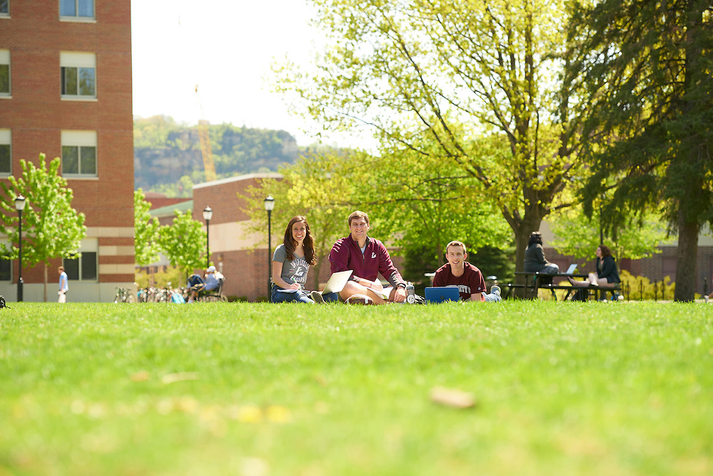 Josh Stanke; Katie Rascher; Bryce Hartl; Activity; Studying; Smiling; Buildings; Bluffs; Eagle Hall; Location; Outside; Objects; Computer; People; Student Students; Woman Women; Man Men; Spring; May; Time/Weather; sunny; Type of Photography; Candid; Lifestyle; UWL UW-L UW-La Crosse University of Wisconsin-La Crosse