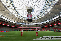 March 9, 2019 - Vancouver, BC, U.S. - VANCOUVER, BC - MARCH 09:  The empty pitch before competition begins during day 1 of the 2019 Canada Sevens Rugby Tournament on March 9, 2019 at BC Place in Vancouver, British Columbia, Canada. (Photo by Devin Manky/Icon Sportswire) (Credit Image: © Devin Manky/Icon SMI via ZUMA Press)