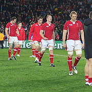 The dejected Welsh players after their loss to France during the Wales V France Semi Final match at the IRB Rugby World Cup tournament, Eden Park, Auckland, New Zealand, 15th October 2011. Photo Tim Clayton...