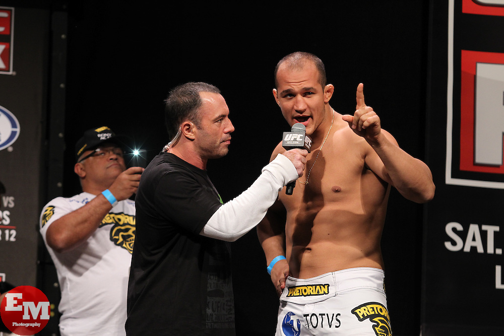 November 11, 2011; Santa Monica, CA; USA; Junior Dos Santos speaks with Joe Rogan after weighing in for his upcoming fight against UFC heavyweight champion Cain Velasquez.  The two will meet on Saturday night in the main event at the Honda Center in Anaheim, CA.