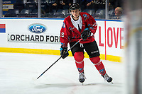KELOWNA, CANADA - MARCH 9:  Ethan Ernst #19 of the Kelowna Rockets warms up against the Kamloops Blazers on March 9, 2019 at Prospera Place in Kelowna, British Columbia, Canada.  (Photo by Marissa Baecker/Shoot the Breeze)