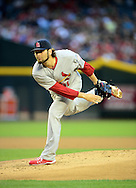 May. 7, 2012; Phoenix, AZ, USA; St. Louis Cardinals pitcher Lance Lynn (31) pitches against the Arizona Diamondbacks during the first inning at Chase Field. Mandatory Credit: Jennifer Stewart-US PRESSWIRE