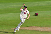 Wicket - Craig Overton of Somerset celebrates taking the catch to dismiss Paul Stirling of Middlesex off the bowling of Roelof van der Merwe of Somerset during the Specsavers County Champ Div 1 match between Somerset County Cricket Club and Middlesex County Cricket Club at the Cooper Associates County Ground, Taunton, United Kingdom on 28 September 2017. Photo by Graham Hunt.