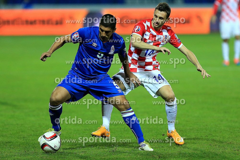 13.10.2014, Stadion Gradski vrt, Osijek, CRO, UEFA Euro Qualifikation, Kroatien vs Aserbaidschan, Gruppe H, im Bild Elnur Allahverdiyev, Marcelo Brozovic // during the UEFA EURO 2016 Qualifier group H match between Croatia and Azerbaijan at the Stadion Gradski vrt in Osijek, Croatia on 2014/10/13. EXPA Pictures &copy; 2014, PhotoCredit: EXPA/ Pixsell/ Davor Javorovic<br /> <br /> *****ATTENTION - for AUT, SLO, SUI, SWE, ITA, FRA only*****