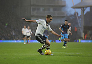 Fulham attacker Alex Kacaniklic (Kacaniklic) trying to trick his way into the box during the Sky Bet Championship match between Fulham and Sheffield Wednesday at Craven Cottage, London, England on 2 January 2016. Photo by Matthew Redman.
