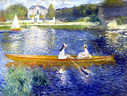 La Yole' (The Skiff), 1875. Oil on canvas. Pierre-Auguste Renoir (1841-1919) French painter. Two women in a boat, probably on the Seine at Chatou, west of Paris, France.   Blue Orange Landscape Water