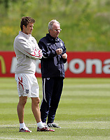 Photo: Paul Thomas.<br /> England Training Session. 01/06/2006.<br /> <br /> David Beckham (L) and Sven Goran Eriksson.