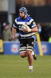 Bath Rugby number 8 Leroy Houston in action against Wasps in Aviva Premiership clash at the Recreation Ground - Photo mandatory by-line: Paul Knight/JMP - Mobile: 07966 386802 - 10/01/2015 - SPORT - Rugby - Bath - The Recreation Ground - Bath Rugby v Wasps - Aviva Premiership