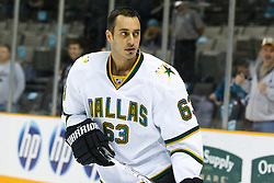 December 13, 2010; San Jose, CA, USA;  Dallas Stars center Mike Ribeiro (63) warms up before the game against the San Jose Sharks at HP Pavilion.  Dallas defeated San Jose 3-2 in shootouts. Mandatory Credit: Jason O. Watson / US PRESSWIRE